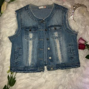 Route 66 Denim Ripped Distressed Jacket Sleeveless